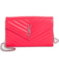 women's saint laurent monogramme quilted leather wallet on a chain -