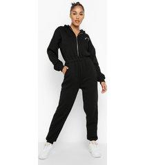 oversized geborduurde sweatstoffen jumpsuit met capuchon, black