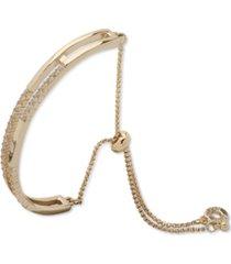anne klein gold-tone pave bar slider bracelet