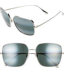 women's maui jim triton 61mm polarizedplus2 mirrored square sunglasses - silver/ neutral grey