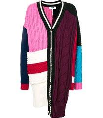 msgm asymmetric patchwork cardigan - pink