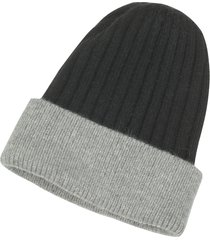 forzieri designer men's hats, black & gray angora wool blend rib knit beanie hat
