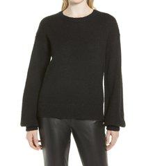 women's halogen cozy crewneck sweater, size x-small - black