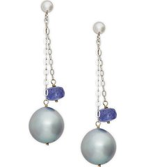 14k white gold 11mm gray tahitian pearl & tanzanite double chain drop earrings