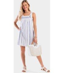 anissa stripe shift dress - white