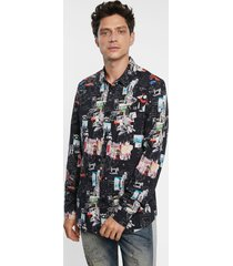 arty slim shirt 100% cotton - black - s
