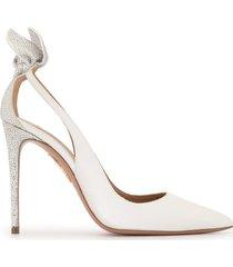 aquazzura bow tie 105 embellished pumps - silver