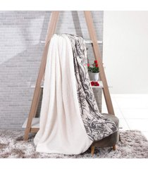 manta cobertor king sherpa l㣠de carneiro + flannel carrara - tessi - estampado - dafiti