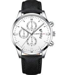 reloj deportivo acero inoxidable hombre cuarzo cuena 1054-k negro blanco