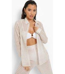 chiffon gingham strand blouse, sand