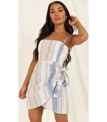 showpo accelerate dress in blue stripe linen look - 10 (m) sale