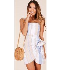 showpo accelerate dress in blue stripe linen look - 12 (l) casual