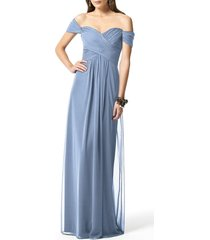 women's dessy collection ruched chiffon gown, size 18 (similar to 14w) - blue