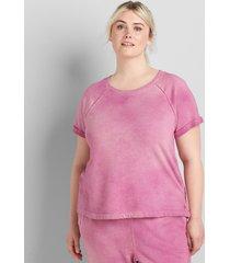 lane bryant women's livi short-sleeve tie-dye sweatshirt 30/32 boysenberry