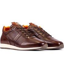 tenis casuales lifestyle en cuero marrón overstate de-7275-2510ov