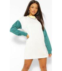 contrasterende oversized sweatshirt jurk, wit