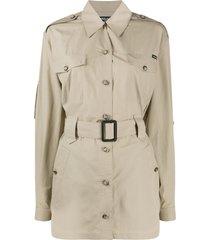 dolce & gabbana button up belted shirt dress - neutrals