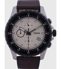 reloj café-negro-plateado fossil