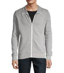 boss hugo boss men's front-zip cotton sweatshirt - grey - size s