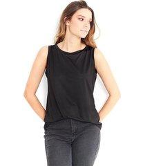 camiseta para dama cuello redondo, manga sisa color-negro-talla-m