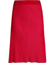 plaited midi skirt
