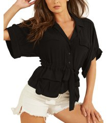 guess andrea button-front top