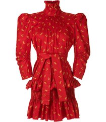 à la garçonne funnel neck printed dress - red
