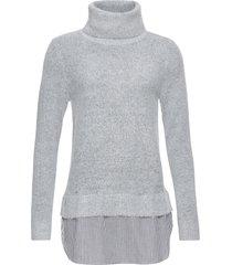 maglione a collo alto con inserto di camicia (grigio) - bodyflirt