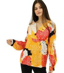 blusa folhagem aha com prega 1 amarela/preto - kanui