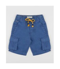 bermuda de sarja infantil cargo com bolso e cordão azul marinho