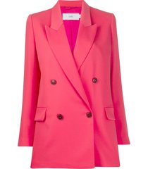 closed longline double breasted blazer - pink