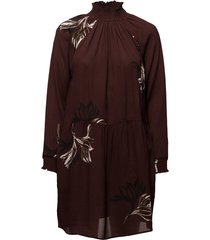 dress w. turtle neck and blossom print kort klänning brun coster copenhagen