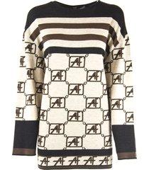 alberta ferretti beige virgin wool sweaters