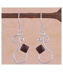mahogany obsidian dangle earrings, 'sinuous song' (peru)