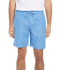 bugatchi drawstring linen shorts, size small in washed indigo at nordstrom