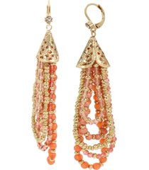 miriam haskell new york mixed bead swag strand earrings