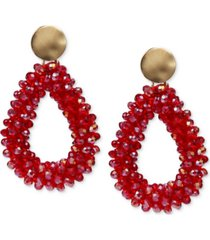 style & co gold-tone beaded open drop earrings, created for macy's