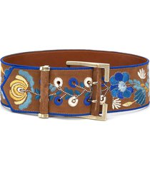 etro embroidered wide belt - neutrals