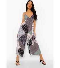 bloemenprint culotte jumpsuit met ceintuur, lilac