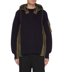 panelled patch pocket hooded sweatshirt