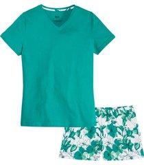 pigiama estivo in cotone biologico (verde) - bpc bonprix collection