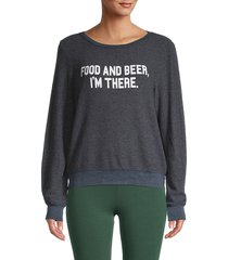 wildfox women's graphic roundneck sweater - oxford - size m
