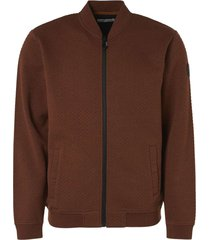 no excess sweater full zip jacquard rusty