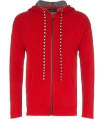 alanui bandana zip-up hoodie - red