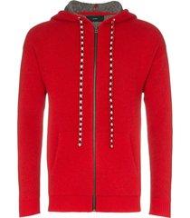alanui bandana zip-up hoodie - red