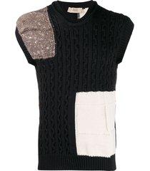 maison flaneur patchwork cable knit sweater - black