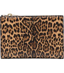 saint laurent leopard-print bifold wallet - brown