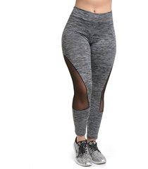 calça legging galvic mescla com detalhe em tule cinza