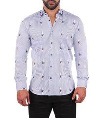men's maceoo fibonacci curious pug button-up shirt