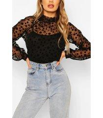 mesh polka dot bow detail blouse, black